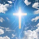 Abrégé sur croix avec les arcs électriques illustration libre de droits