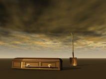 Abrégé sur enterrement avec la cosse et le cercueil Image stock