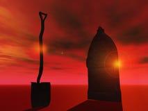 Abrégé sur enterrement avec la cosse et le cercueil Photographie stock libre de droits