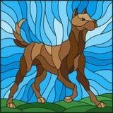 Abrégé sur illustration en verre souillé chez le chien brun sur un fond des prés et du ciel illustration de vecteur