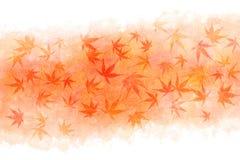 Abrégé sur japonais feuille d'érable d'automne sur le fond rouge de peinture d'aquarelle Photographie stock