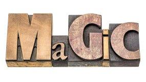 Abrégé sur magique mot dans le type en bois Photos stock