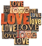 Abrégé sur mot d'amour dans le type en bois Image stock