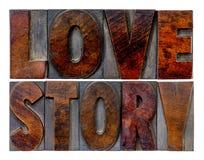 Abrégé sur mot d'histoire d'amour Images stock