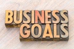 Abrégé sur mot de buts d'affaires dans le type en bois Photo stock