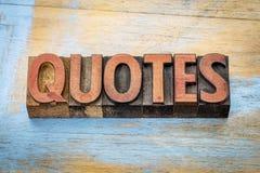 Abrégé sur mot de citations dans le type en bois d'impression typographique Photographie stock libre de droits