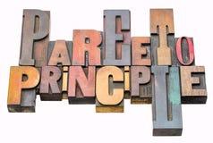 Abrégé sur mot de principe de Pareto dans le type en bois image stock