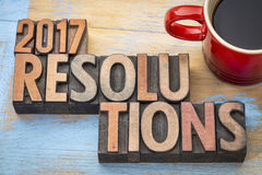 abrégé sur mot de 2017 résolutions dans le type en bois Photo libre de droits