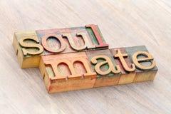 Abrégé sur mot de Soulmate dans le type en bois Images libres de droits