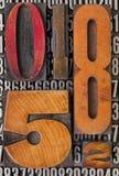Abrégé sur numéro dans le type d'impression typographique Image stock