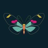 Abrégé sur papillon sur le fond de marine Photos libres de droits