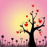 Abrégez l'arbre avec des coeurs et floral illustration de vecteur