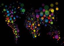 Abrégez la carte légère colorée du monde Images stock