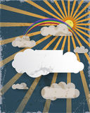 Abrégez la coupure de papier Le fond de ciel bleu et le nuage vide conçoivent l'élément avec l'endroit pour votre texte Fond text Photo libre de droits