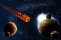 Abrégez la planète avec l'épanouissement du soleil dans l'espace lointain illustration libre de droits