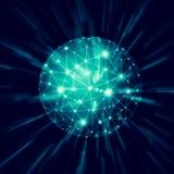 abrégez le fond Boule rougeoyante abstraite, lignes de communication, symbole abstrait d'Internet, communication, technologie Photo libre de droits