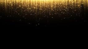 abrégez le fond Les rayons de la lumière d'or avec la poussière magique lumineuse rougeoient dans l'obscurité Particules et pouss Images libres de droits