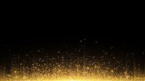 abrégez le fond Les rayons de la lumière d'or avec la poussière magique lumineuse rougeoient dans l'obscurité Vecteur Photo stock
