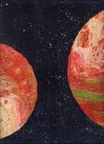 abrégez le fond Texture abstraite Couleur orange rouge sur un fond noir l'espace Une atmosphère fascinante Technique de liqui illustration libre de droits