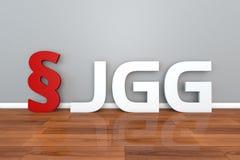 Abréviation allemande de la loi JGG pour l'illustration Jugendgerichtsgesetz de l'acte 3d de tribunal pour enfants illustration libre de droits