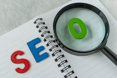 Abréviation colorée SEO d'alphabet sur le verre de rapport optique Images libres de droits