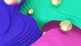 abr?gez le fond Les boules d'or roulent sur vert, le rose et les ?tapes bleues r?alit? psych?d?lique et mondes parall?les illustr photographie stock libre de droits