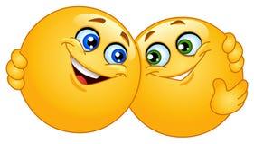 Abraçando emoticons ilustração royalty free