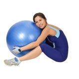 Abraçando a esfera da ginástica Imagem de Stock Royalty Free