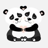 Abraçando a ilustração de Panda Postcard Vetora ilustração royalty free