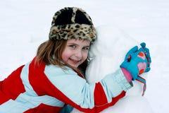 Abraçando meu boneco de neve fotografia de stock royalty free