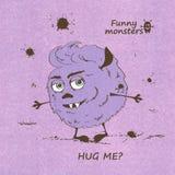 Abraçando o monstro desgrenhado engraçado Fotografia de Stock