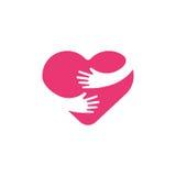 Abraçando o símbolo do coração, abraço você mesmo, amor você mesmo Ilustração do coração e das mãos Fotos de Stock Royalty Free