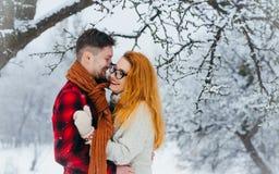 Abraçar pares loving é rir durante a queda de neve no retrato do busto da floresta imagens de stock