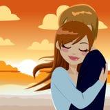 Abraço apaixonado do por do sol Foto de Stock