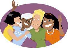 Abraço do grupo ilustração stock