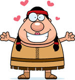 Abraço do nativo americano dos desenhos animados Imagem de Stock Royalty Free