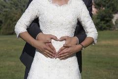 Abraço dos noivos Imagens de Stock