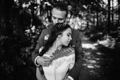 Abraço romântico dos noivos Imagem de Stock Royalty Free