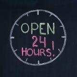 Abra 24 horas! foto de stock