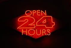 Abra 24 horas Imágenes de archivo libres de regalías