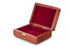 Abra as caixas envernizadas de madeira isoladas no fundo branco puro com trajeto grampeado imagem de stock royalty free