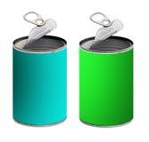 Abra as latas de lata, o verde e a turquesa - isolados  Fotos de Stock Royalty Free
