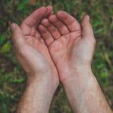 Abra as mãos Guardarando, doação, mostrando o conceito Mãos vazias em exterior Terra arrendada do homem algo em sua palma foto de stock