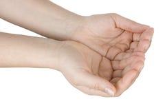 Abra as mãos sustentou esperançosamente a elevação Foto de Stock
