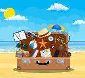 Abra a bagagem, bagagem, malas de viagem ilustração royalty free