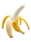 Abra a banana isolada no fundo branco Imagens de Stock