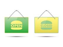 Abra a bandeira fechado com forma do hamburguer Fotografia de Stock