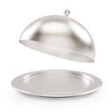 Abra a bandeja de prata em um fundo branco Foto de Stock Royalty Free