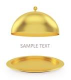 Abra a bandeja do ouro em um fundo branco Imagem de Stock