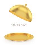 Abra a bandeja do ouro em um fundo branco Imagem de Stock Royalty Free
